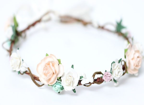 Wedding Hair Accessories Flower Girl Crown Peach Mint Ivory Floral Halo